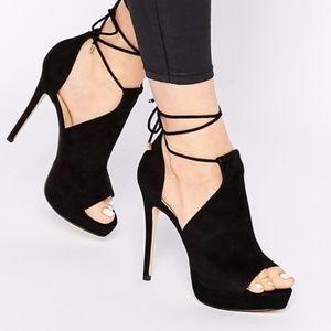 ALDO Black Saraa Peep Toe Stiletto Booties Heels