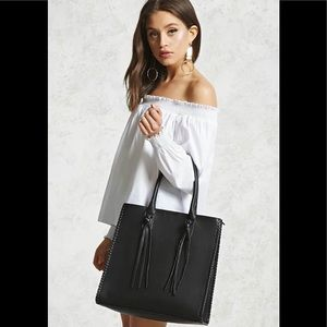Forever21 faux leather tote with tassels