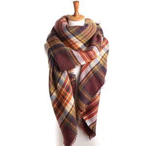 🍁 Autumn Leaves Ultra Plush Plaid Blanket Scarf