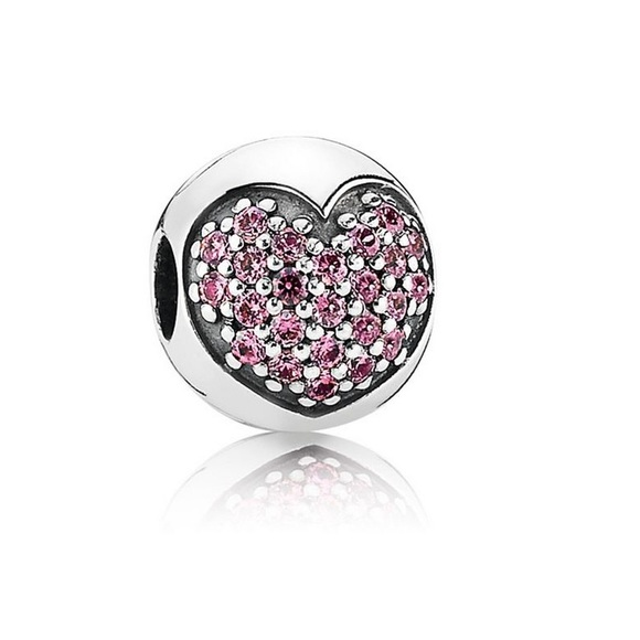c6fb3d0f7 Pandora Jewelry   Pink Heart Pave Clip Love Of My Life Charm   Poshmark