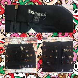 Express black sequin mini skirt stripes sz 00 NWT