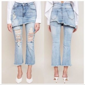 Denim - Destroyed Layered Asymmetric Mini Skirt Jeans