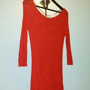 ZARA Red-Orange Knitted Blouse Size Small