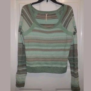 Free People Mint Striped Pullover Sweater Size L