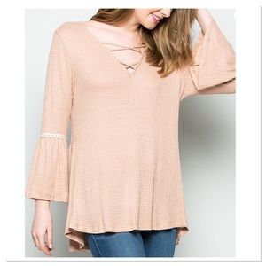 Boutique Tops - Blush Waffle Knit Bell-Sleeve Top