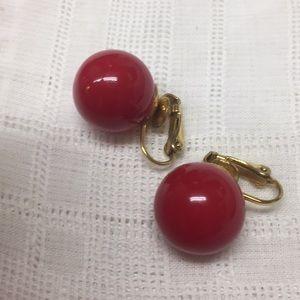 Red Acrylic Ball Clip Earrings