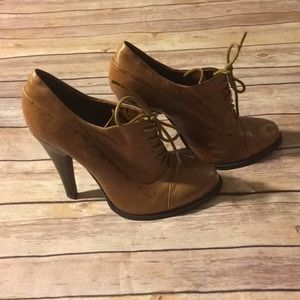 Aldo Oxford Leather Lace Up Heeled Booties