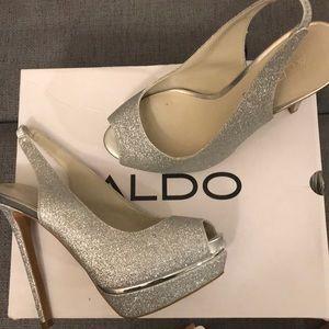 Aldo Mesiano sparkly silver platform heels