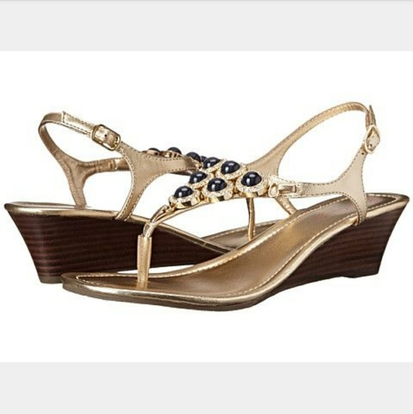 d080b3aade2 Lilly Pulitzer Shoes - Lilly Pulitzer Beach Club Navy   Gold Wedge Sandal