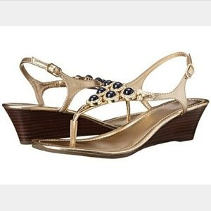Lilly Pulitzer Beach Club Navy & Gold Wedge Sandal