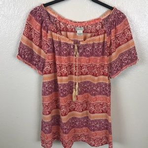 Lucky Brand off the Shoulder Floral Top