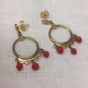Red Bead Dangle Pierced Earrings