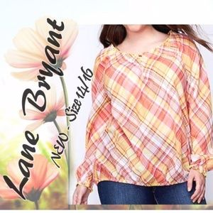 Lane Bryant Plaid Shirt Long Slv Boho NEW Peasant