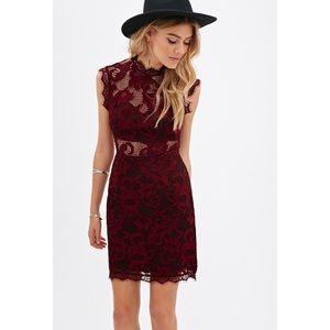Deep Burgundy Floral Lace Dress
