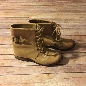 MIA Leather Lace Up Boots with Side Buckle