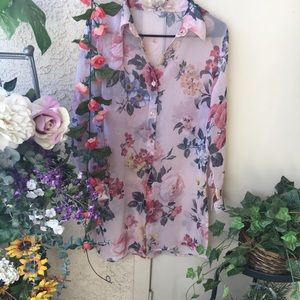 Floral Side Slit Sheer Tunic Button Down