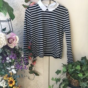Peter Pan Collar  Vintage Striped Blouse