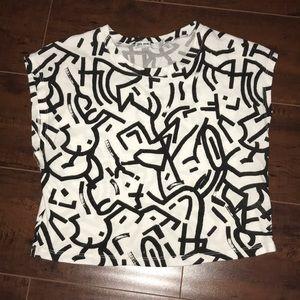Zara S Cropped Top Tank Black White