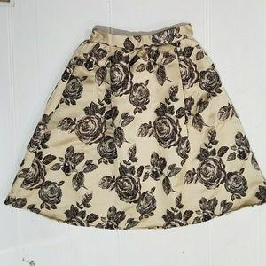 Vintage SUPER Full High-Waist Brocade Midi Skirt