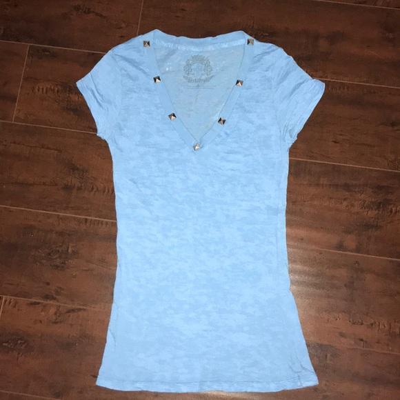 1d7ed29b brokedown Tops | S Baby Blue V Neck T Shirt Silver Studs | Poshmark