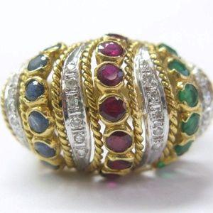 Jewelry - 18KT Multi Gem Diamond Big Dome Yellow Gold Ring 1