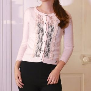 Gilly Hicks Lace Panel Cropped Cardigan Sweater