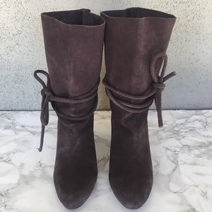 Anthropologie Ecoté Leather Suede Tie Up Boots