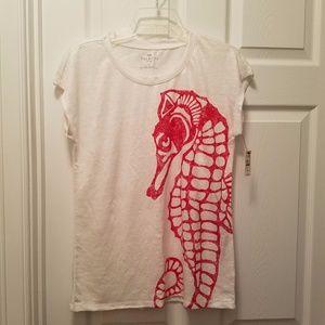 Talbots Short Sleeve Linen Top Tee Seahorse