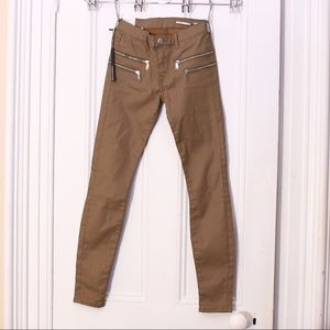 Zara Taupe Zip Detail Skinny Fit Coated Trousers