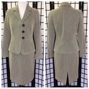Carlisle BlackWhite Chevron Wool Skirt Jacket Suit
