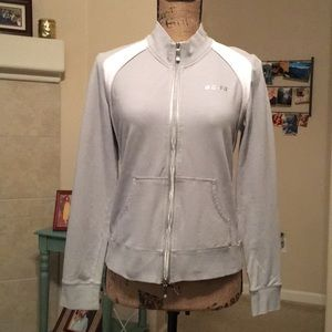 BCBGMAXAZRIA Grey And White Zipper Sweatshirt