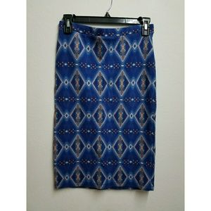 Forever 21 Blue Pencil Skirt with Diamond Designs