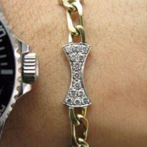 Jewelry - Fine 18KT Two Tone Diamond Stationary Bone Bracele