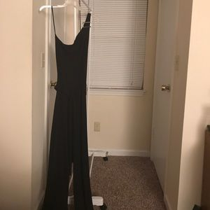 One strap black jumpsuit