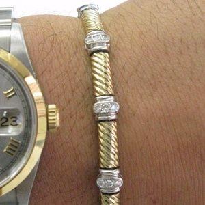 """Jewelry - Fine Round Cut Diamond 2-Tone Gold Bracelet 7"""" .70"""