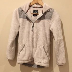 White furry north face fleece jacket