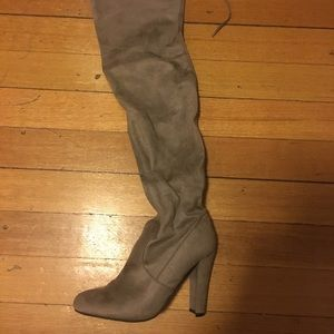 Grey/taupe suede thigh high boots