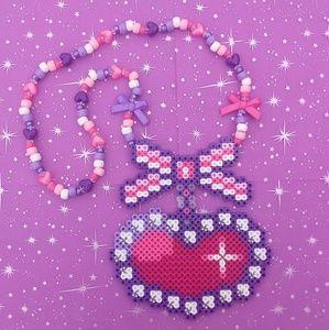 Jewelry - Bow and diamond perler bead kandi necklace