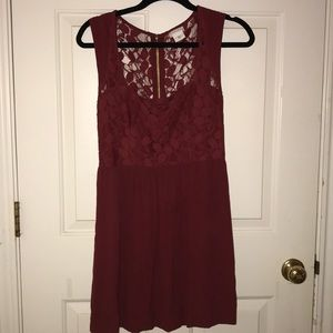 Rust colored dress with lace and zipper detail