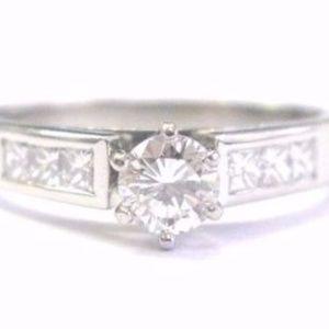 Platinum Round & Princess Cut Diamond Engagement R