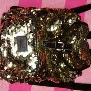 Htf/rare gold sequined backpack new