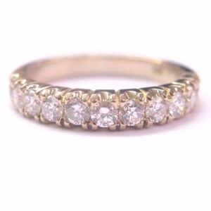 18KT Round Cut Diamond 11-Stone Solid Yellow Gold
