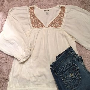 Lucky Brand - Cream Baby Doll Blouse with Beads