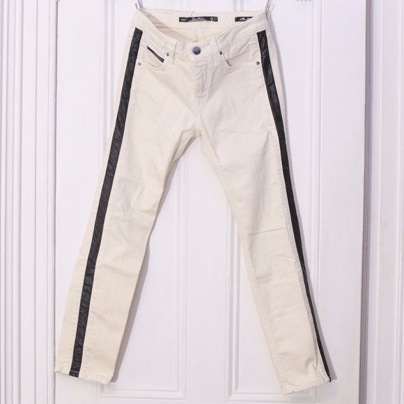 7f4801a5ae Zara Leather Tuxedo Stripe White Denim Trousers