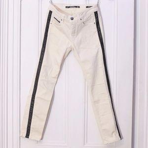 Zara Leather Tuxedo Stripe White Denim Trousers