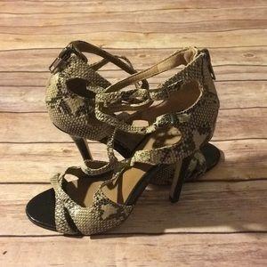 Renvy Phoebe Snakeskin Print Caged Strappy Sandals