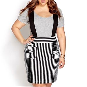 Forever 21 Striped Overall Dress