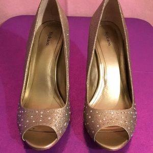 Sparkly diamond open toe high heels