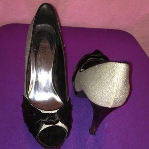 Open toe silk sparkly high heels