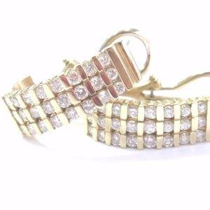 Fine Round Cut Diamond Hoop Earrings Bar Settings